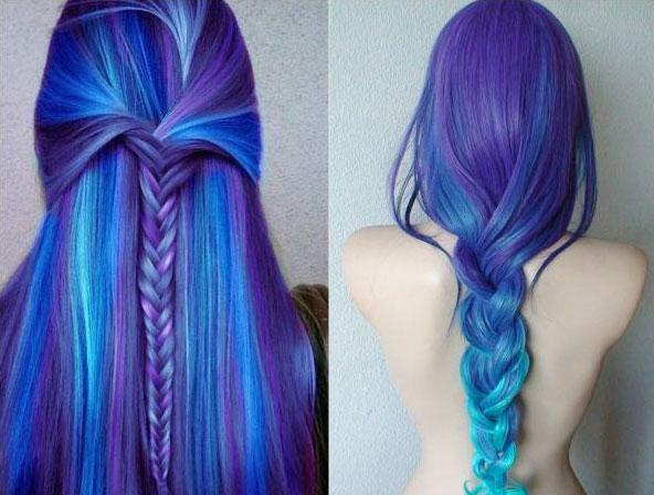 волосы сине-фиолетовые