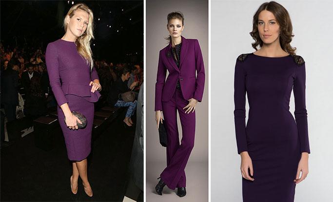 платья и костюмы фиолетового цвета
