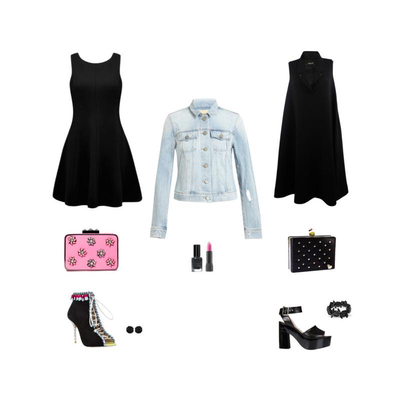 Черное платье и джинсовый пиджак фото