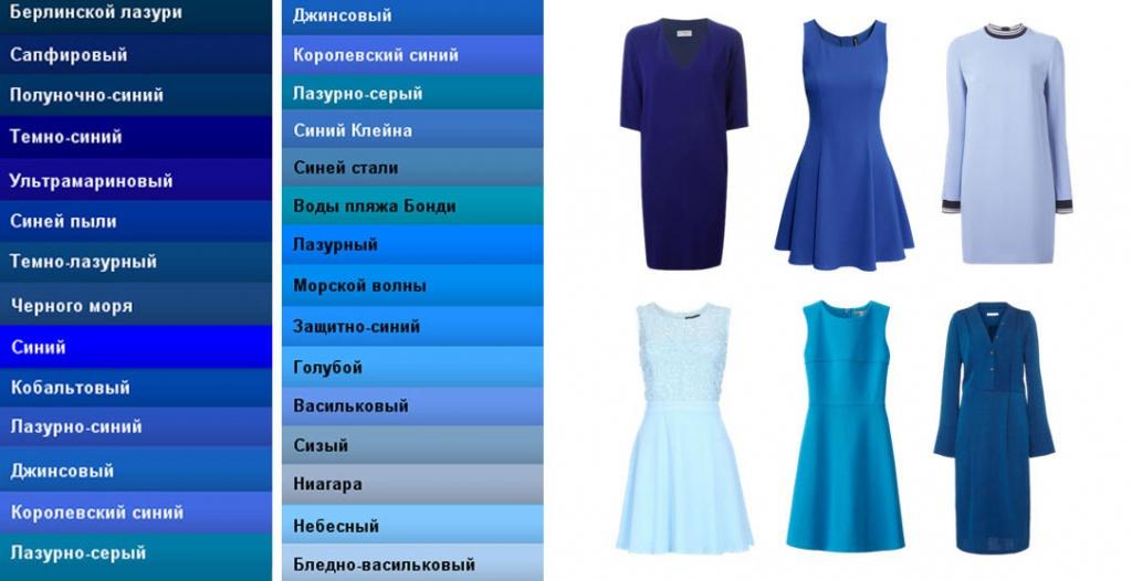 Все цвета синего оттенка
